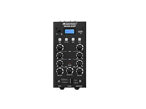 OMNITRONIC GNOME-202P Mini-Mixer schwarz   2-Kanal-DJ-Mixer mit Bluetooth und MP3-Player im Miniaturformat   Regelbarer Mikrofoneingang/Kopfhörerausgang über 6,3-mm-Klinke