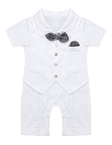 CHICTRY Baby Jungen Smoking Strampler Hemd-Body mit Bowtie Hochzeit Overall Bodysuit Spielanzug Gentleman Kostüm Outfit Gr. 66-95 Weiß 50-56/0-3 Monate