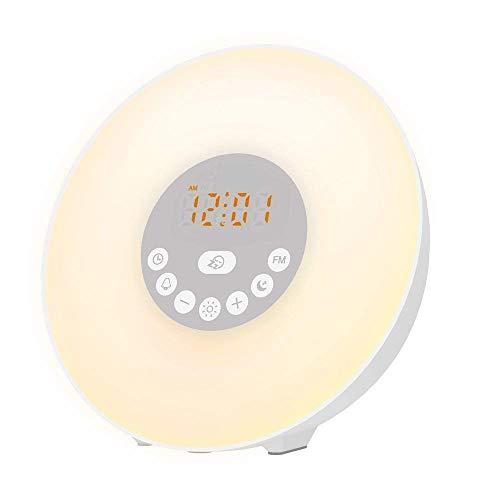 WeckerLicht Wake Up Light Lichtwecker - 7 Wecktöne (inkl. 2 Naturklänge und FM), 7Farben, 10 Dimmstufen, Sonnenaufgangssimulator, Nachtlicht mit FM Radio Logo Sleeper