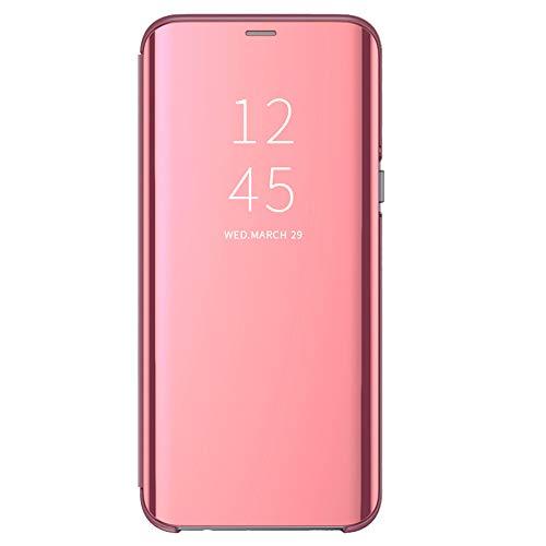 kompatibel mit Samsung Galaxy S8 Plus Hülle Mirror Case Spiegel Schutzhülle PU Leder Flip Handy Case Tasche mit Standfunktion für Samsung Galaxy S8/S8 Plus schwarz (S8+ 6,2Zoll, Rose Gold)
