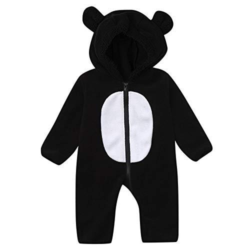 Lazzboy Kleinkind Baby Mädchen Jungen Cartoon Ohren Hoodie Strampler Zip Kleidung Overall(Höhe 60,Schwarz)