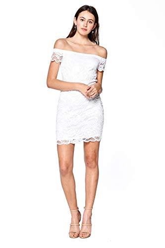 Khanomak Damen Kurzarm Weg vom Schulter-Spitze figurbetontes Kleid (weiß, Large)