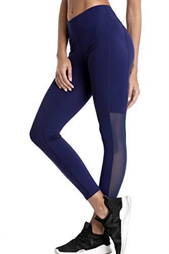 V FOR CITY Trainings Tights mit Mesh Einsatz für Damen - Sport Leggings elastisch & figurbetont - Sporthose lang & eng für Fitness, Yoga & Pilates S -