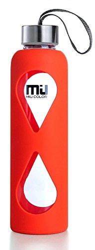 MIU COLOR–Botella de agua de vidrio, antideslizante funda de sil