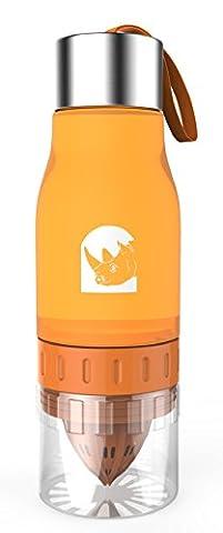Audacious Rhino Bouteille d'eau à infuseur de citron, de fruits et d'agrumes –650ml–6couleurs vives–Idéal pour s'hydrater pendant le sport, les activités en plein air et le fitness, à la maison et au bureau, Orange, 650 ml