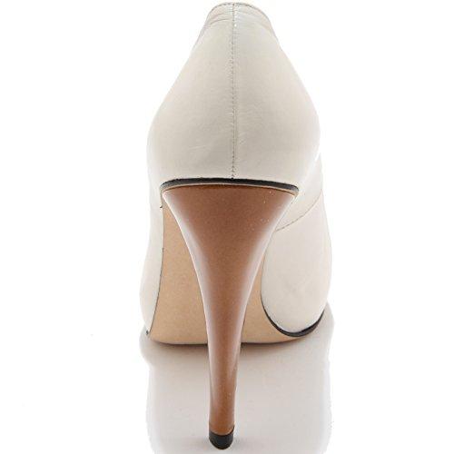 59070 decollete spuntato STUART WEITZMAN scarpa donna shoes women Panna