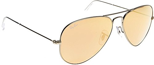 Ray Ban Für Mann Rb3025 Aviator Large Metal Matte Silver / Brown Mirror Pink Metallgestell Sonnenbrillen, 58mm