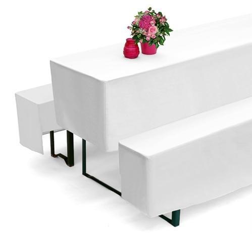 Biertischhussen 3er Set für Bierzeltgarnitur für 50cm Biertisch Tische Weiss