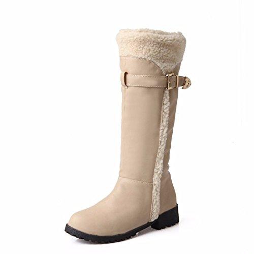 Herbst und Winter flache runde Kopf in der Europäischen und Amerikanischen Schnee Stiefel Damen Stiefel, Beige, 34 Talsohle -