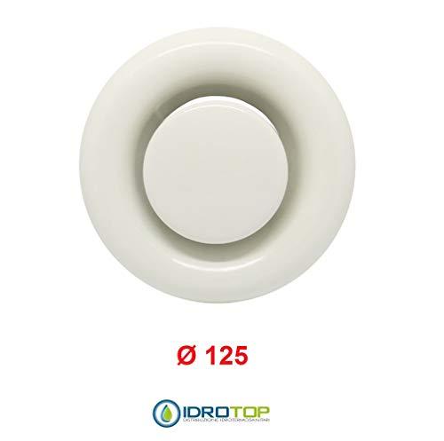 Válvula de boquilla de 125 mm de diámetro, color blanco, con collar.