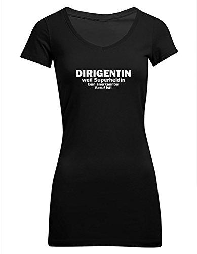 Dirigentin - weil Superheldin kein anerkannter Beruf ist, Frauen T-Shirt Extra Lang - ID103325 Schwarz