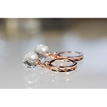 Facettierte rosevergoldete Silbercreolen mit facettierten Bergkristallkugeln – funkelnde Ohrringe – Edelsteinschmuck