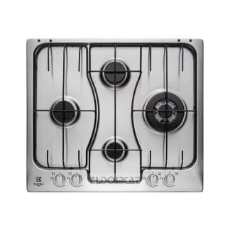 Electrolux RGG 6243 LOX Integrado Encimera de gas Acero inoxidable hobs – Placa (Integrado, Encimera de gas, Acero inoxidable, Acero inoxidable, 1000 W, 2000 W)
