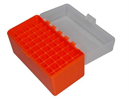 Flachberg Patronenbox Orange f. 50 Patronen 3006 8x57 7,62x54R Nagant Klappdeckelbox Patronen Box Ammo Box Munitionsbox Munitionskiste -
