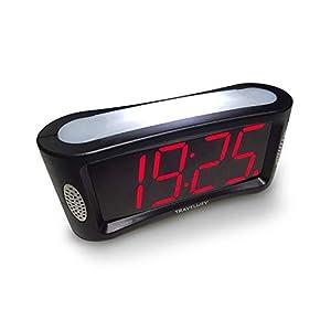 Digitaler Wecker – netzbetrieben; Einfach zu bedienenender Wecker mit großem Nachtlicht; nicht tickend; Schlummer-Modus; Helligkeitsdimmer; gut lesbares Display mit roten Ziffern; 12-Stunden Format