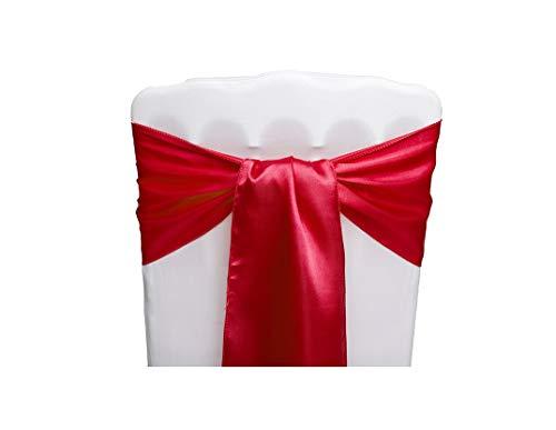Pona® 10 Stück Stuhlschleifen Satin mit gesäumten Rändern - fünf Farben - Schleife, Hochzeit, Feier, Geburtstag, Party, Dekoration, Band rot -