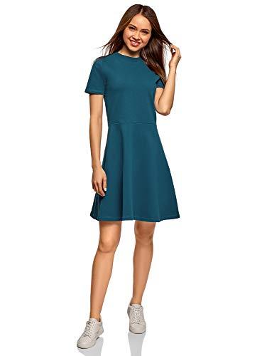 oodji Ultra Damen Tailliertes Kleid mit Reißverschluss, Blau, DE 32 / EU 34 / XXS Reißverschluss Kleid