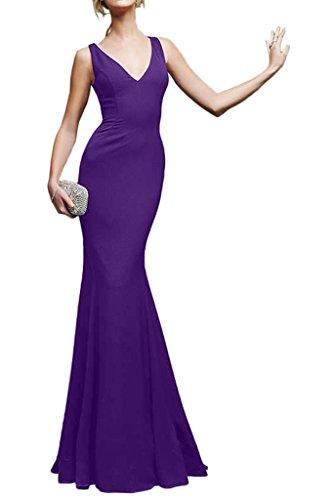 Milano Bride Sexuell V-Ausschnitt Lang Mermaid Abendkleider Festkleider Einfach Violett