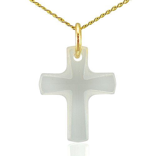 Jewellery-Joia - Ciondolo per collana a forma di croce, con attacco in oro massiccio a 9k e cristallo Swarovski, per collane lunghe 40,5, 45,5 o 51 cm, colore: bianco trasparente, Oro giallo, colore: bianco, cod. Gold-Swarovski-Crystal-cross-necklace