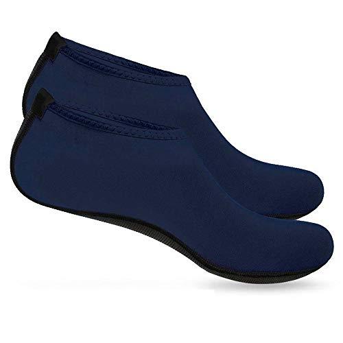 Boolavard Wassersportschuhe Barfuß Schnell trocknende Aqua Yoga Socken Slip-on für Männer Frauen Kinder (L - 40-41 EU, Blau) Beach Slip On