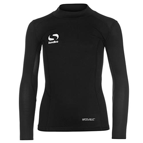 Sondico Kinder Baselayer Langarm Kompression Sport Top Oberteil Funktion Shirt Schwarz 11-12 Yrs -