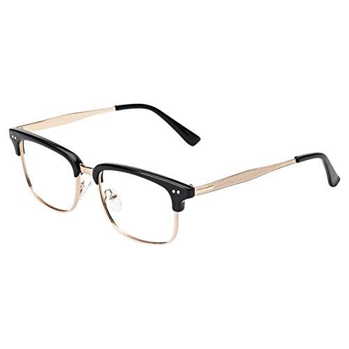 Moberlin Brillen für Männer Frauen,Metallgestell Brillengestell Klare Linse Bügel Halb Rahmen...