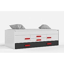Habitdesign 0R7440BO - Cama doble juvenil, 2 puertas 2 cajones, color Blanco Brillo y Gris Oscuro, medidas 201 x 99 x 65 cm de alto