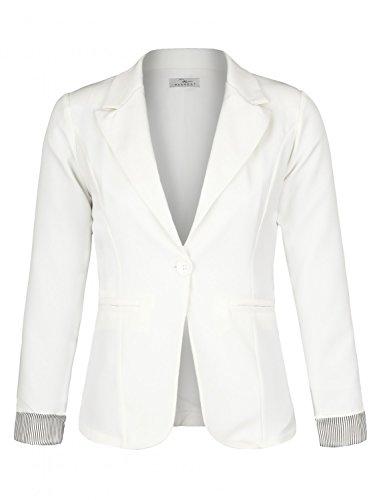 Frauen Anzug-jacke (Eleganter lässiger doppelreihiger klassischer Business Blazer ( 625 ), Farbe:Weiß, Blazer 1:36 / S)