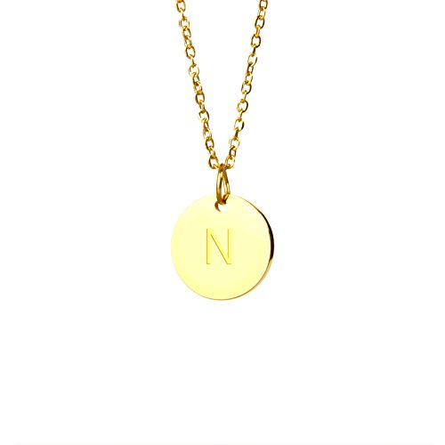 Good.Designs Halskette mit Buchstaben in Gold, Initialen-Halskette aus Edelstahl (Buchstabe P) (Buchstabe N)