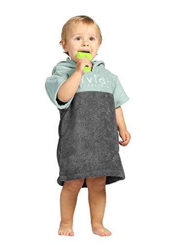 Vivida Lifestyle Kinder Kapuzen-Poncho Handtuch Wickelmantel Strand Bad Schwimmen leicht schnell trocknend Kleinkind Baby Größe Mädchen Jungen Gr. Small (Baby/Toddler), Teal Green/Grey - Jungen-bademäntel Größe Small