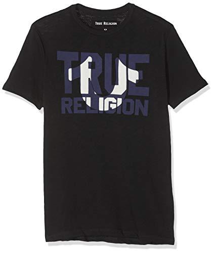 True Religion Herren Crew Block Black T-Shirt, Schwarz 1001, Large (Herstellergröße: L)