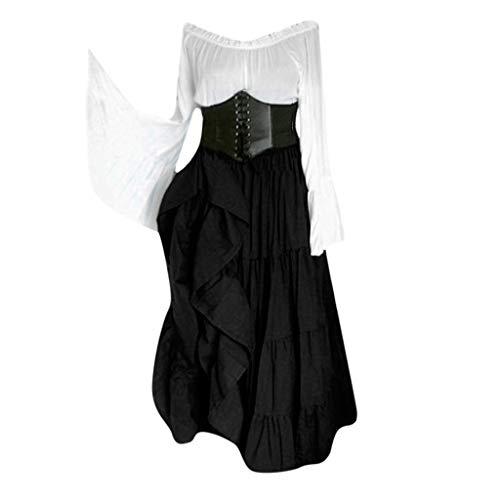 Damen Mittelalterkleid Langarm Kleider Gothic Viktorianischen Königin Kostüm Vintage Renaissance Medieval Princess Dress Fantasy-Kostüme Erwachsene Cosplay Karneval Fasching Party Kostüm - Übergröße Fantasy Kostüm