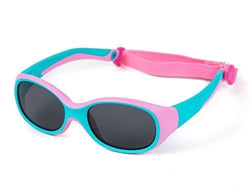 Kiddus Outdoor-Sonnenbrille für Kinder Kleinkind Junge Mädchen. Alter 2 bis 6 Jahre. Verstellbares abnehmbares Band. Unzerbrechlich. Sicherer UV400 Schutz