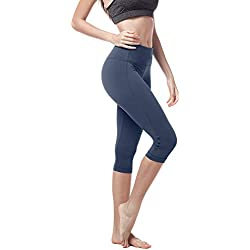 LAPASA Legging avec Poches Capri/Pantacourt de Sport Femme Coupe Genoux Amincissant - Yoga Fitness Jogging Gym L02 - Gris-bleu (Version Plus Épaisse) - Taille 40/L