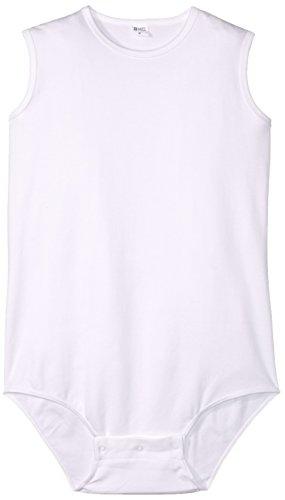 4-CARE Legless, Sleeveless, Zipper Back and Snap Crotch Bodysuit, White, Medium, 0.55 Pound Medium-snap