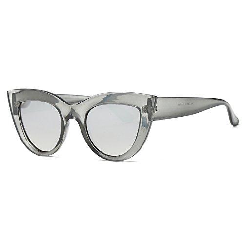 kimorn Sonnenbrille für Damen Metall Scharniere Cat Eye Kunststoffrahmen Sonne Gläser K0568 (Transparentes Grau&Silber)