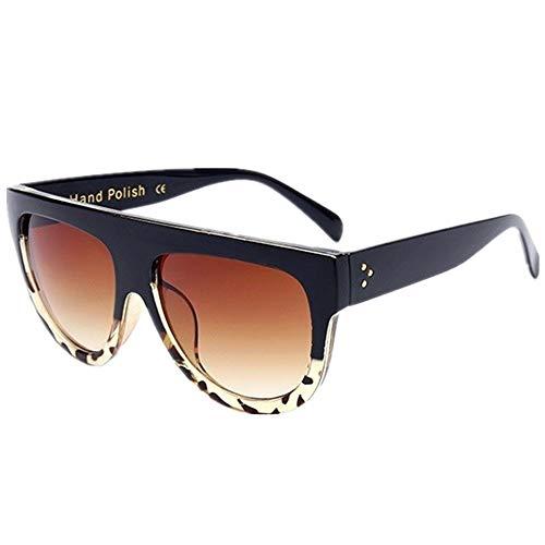 Mode Sonnenbrillen Stilvolle Leopardenmuster Spiel schwarze Sonnenbrille flache Spitze übergroße Frauen Sonnenbrille retro Schild Form großen Rahmen Niet Schatten Sonnenbrille Frauen Sonnenbrille im F