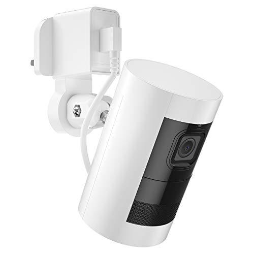 BECEMURU Wandhalterungs-Set für Dachrinnen, Schnellladung 3.0 und Lade-Netzadapter und kurzes Kabel für Ringstick-Up-Kamera, weiß