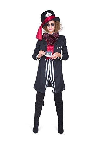 Karnival 81193 schwarz Hatter Girl Kostüm, Frauen, Multi, - Mad Hatter Party Kostüm