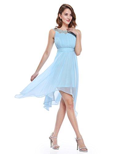 Ever Pretty Robe de soir¨¦e Asym¨¦trique Mousseline sans manche au genou et le buste en ruche 05002 Bleu