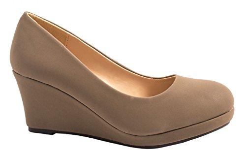 Elara Damen Pumps Keilabsatz Wedges Schuhe mit Plateau |Chunkyrayan B8011Y-PM-Weiss-36
