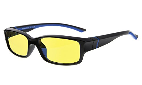 Eyekepper 94% Blau licht blockierende Computer brille, gelb getönte Linse (Schwarz/Blau Arm+1.75)