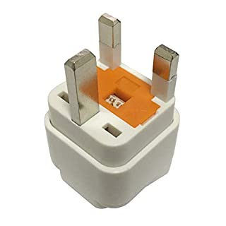 Travel Adaptor for UK/HK/UAE, Plug for US/AU/JP/CN Electronic Appliance Adapt to UK 3 Pins Outlet with Eaton Bussmann Fuse
