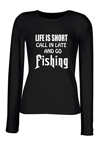 T-Shirt para Las Mujeres Manga Larga Negra FUN2355 Life is Short Call in  Late 2c4327ecece2d
