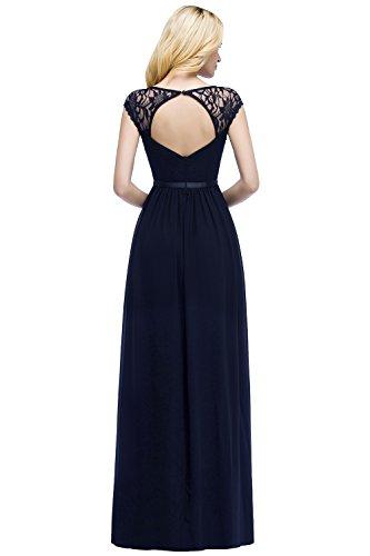 Damen Ballkleid Elegant A-Linie Chffion Spitze Abschlusskleid Prom Dress Rückenfrei Lang Navy Blau...