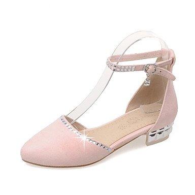 LvYuan Sandali-Ufficio e lavoro Formale Casual-Cinturino alla caviglia Scarpe Flower Girl Suole leggere-Quadrato-Felpato-Rosa Grigio Beige Pink