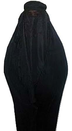 Authentic Damen afghanischen Burka Burka Schwarz, Blau, Rot, Braun, Weiß Jilbab Abaya Afghanistan Taliban Schleier Niqab - Free Size Coole Kaftane (Black schwarz)
