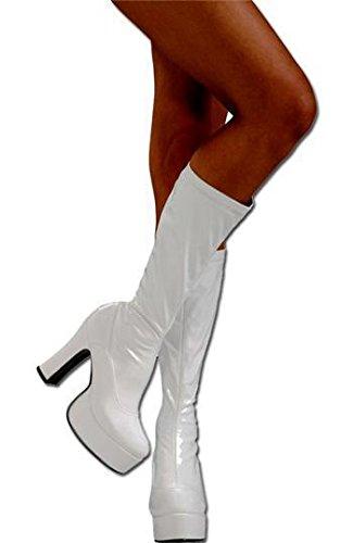 Piattaforma Stivali in pelle verniciata bianca Taglia