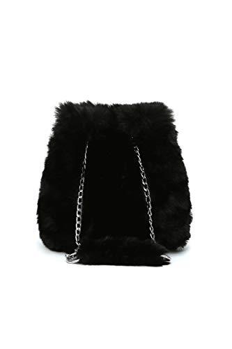 Howoo donne inverno piccolo pelliccia ecologica borsa a tracolla peluche borsa della benna soffice borsetta nero