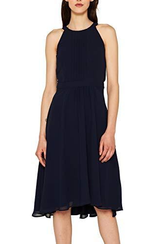 ESPRIT Collection Damen 059EO1E009 Kleid, Blau (Navy 400), Herstellergröße: 38